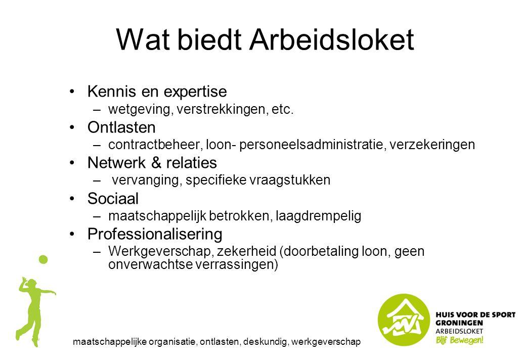 Wat biedt Arbeidsloket Kennis en expertise –wetgeving, verstrekkingen, etc. Ontlasten –contractbeheer, loon- personeelsadministratie, verzekeringen Ne