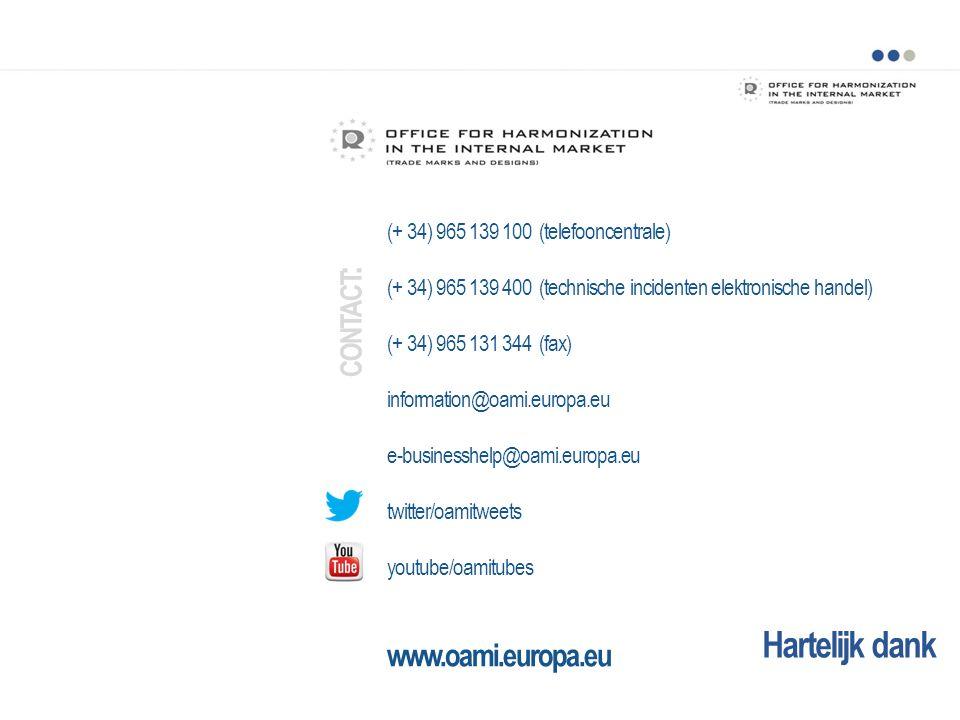 Hartelijk dank (+ 34) 965 139 100 (telefooncentrale) (+ 34) 965 139 400 (technische incidenten elektronische handel) (+ 34) 965 131 344 (fax) information@oami.europa.eu e-businesshelp@oami.europa.eu twitter/oamitweets youtube/oamitubes www.oami.europa.eu CONTACT :