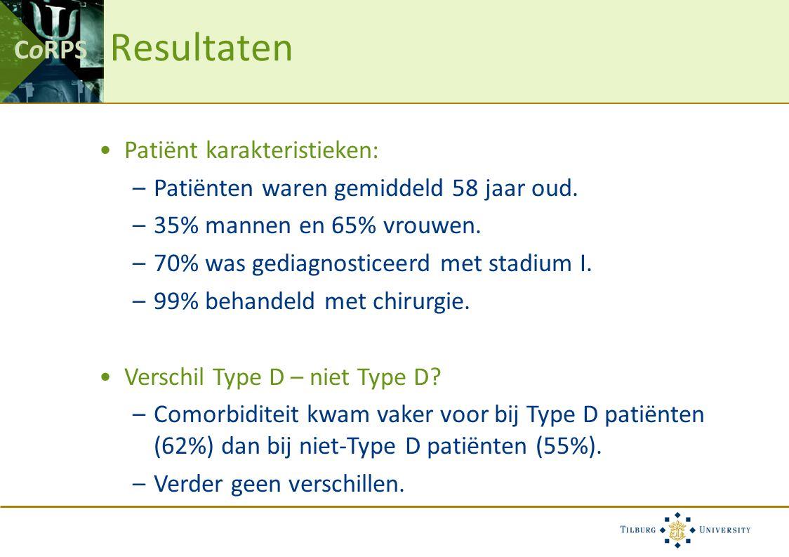 CoRPS Resultaten Patiënt karakteristieken: –Patiënten waren gemiddeld 58 jaar oud. –35% mannen en 65% vrouwen. –70% was gediagnosticeerd met stadium I