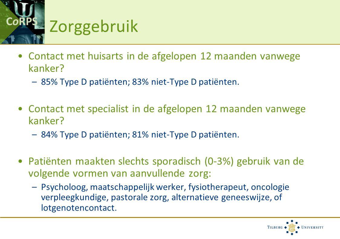 CoRPS Zorggebruik Contact met huisarts in de afgelopen 12 maanden vanwege kanker? –85% Type D patiënten; 83% niet-Type D patiënten. Contact met specia