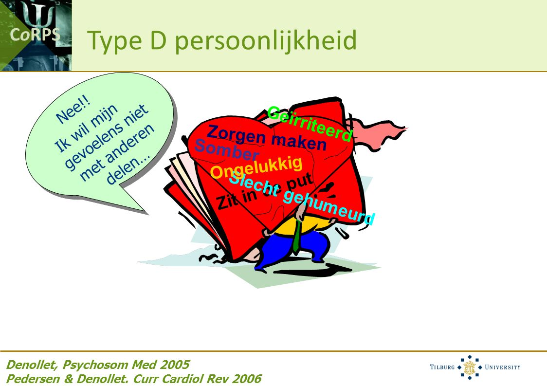 CoRPS Zit in de put Somber Geïrriteerd Zorgen maken Slecht gehumeurd Ongelukkig Denollet, Psychosom Med 2005 Pedersen & Denollet.