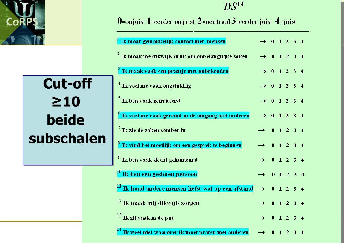 CoRPS Cut-off ≥10 beide subschalen Cut-off ≥10 beide subschalen
