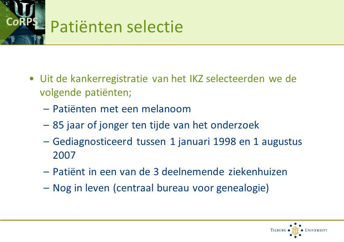 CoRPS Patiënten selectie Uit de kankerregistratie van het IKZ selecteerden we de volgende patiënten; –Patiënten met een melanoom –85 jaar of jonger te