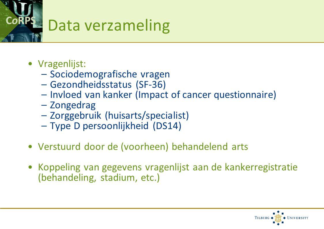 CoRPS Vragenlijst: –Sociodemografische vragen –Gezondheidsstatus (SF-36) –Invloed van kanker (Impact of cancer questionnaire) –Zongedrag –Zorggebruik