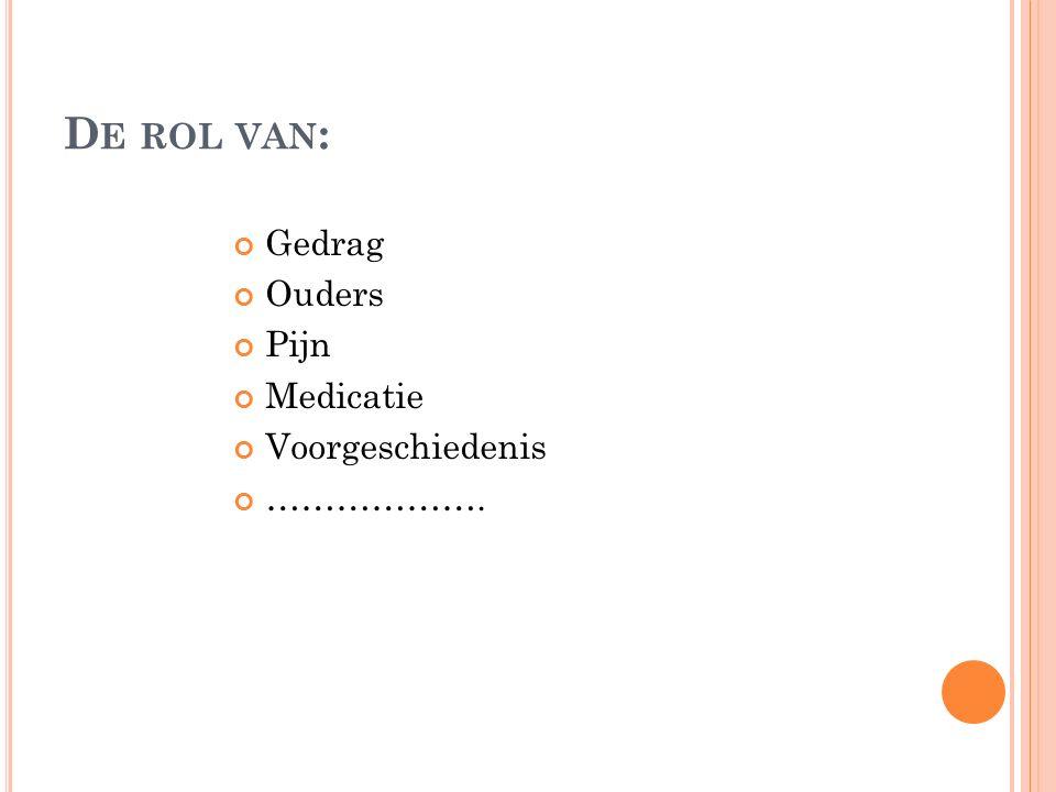 D E ROL VAN : Gedrag Ouders Pijn Medicatie Voorgeschiedenis ……………….