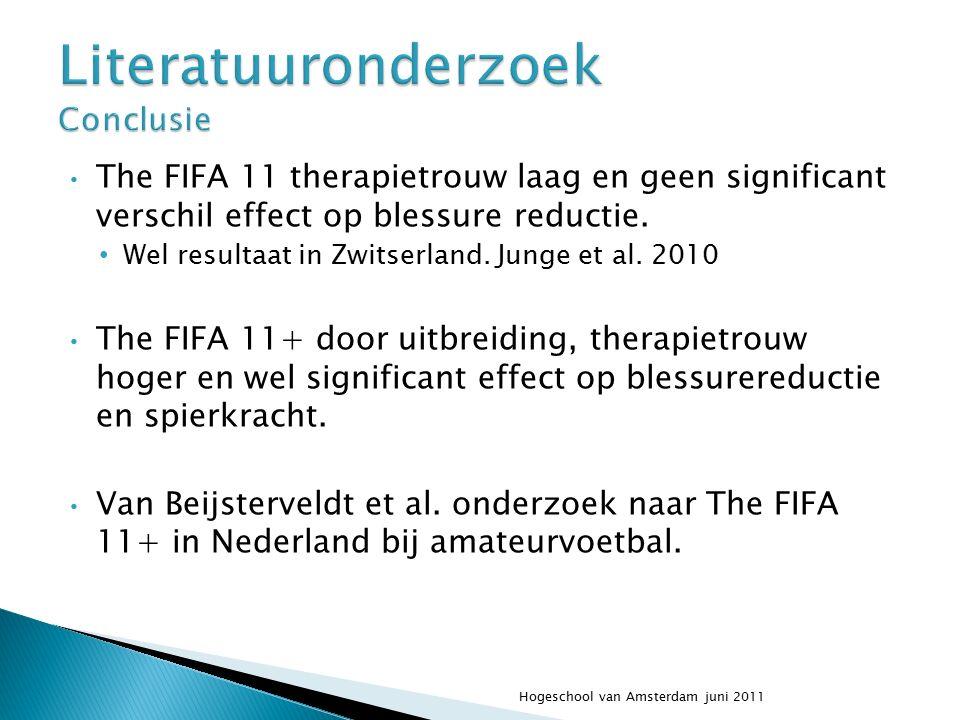 The FIFA 11 therapietrouw laag en geen significant verschil effect op blessure reductie. Wel resultaat in Zwitserland. Junge et al. 2010 The FIFA 11+