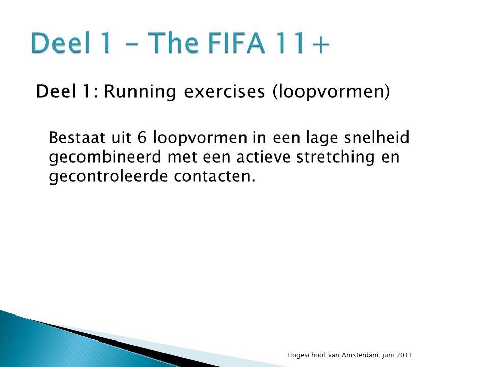 Deel 1: Running exercises (loopvormen) Bestaat uit 6 loopvormen in een lage snelheid gecombineerd met een actieve stretching en gecontroleerde contacten.