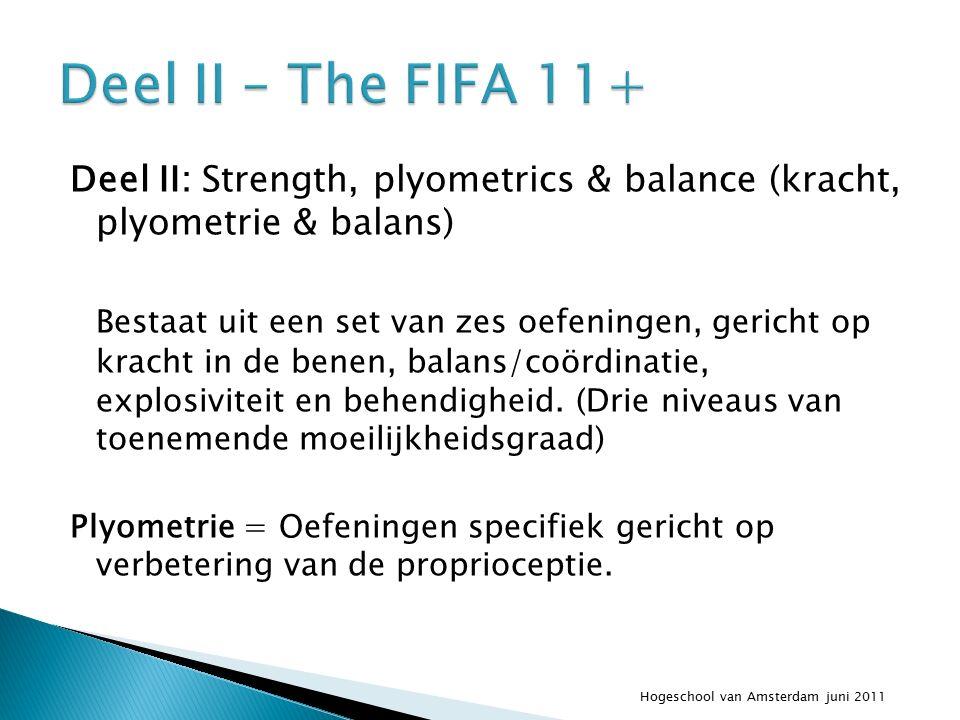 Deel II: Strength, plyometrics & balance (kracht, plyometrie & balans) Bestaat uit een set van zes oefeningen, gericht op kracht in de benen, balans/coördinatie, explosiviteit en behendigheid.