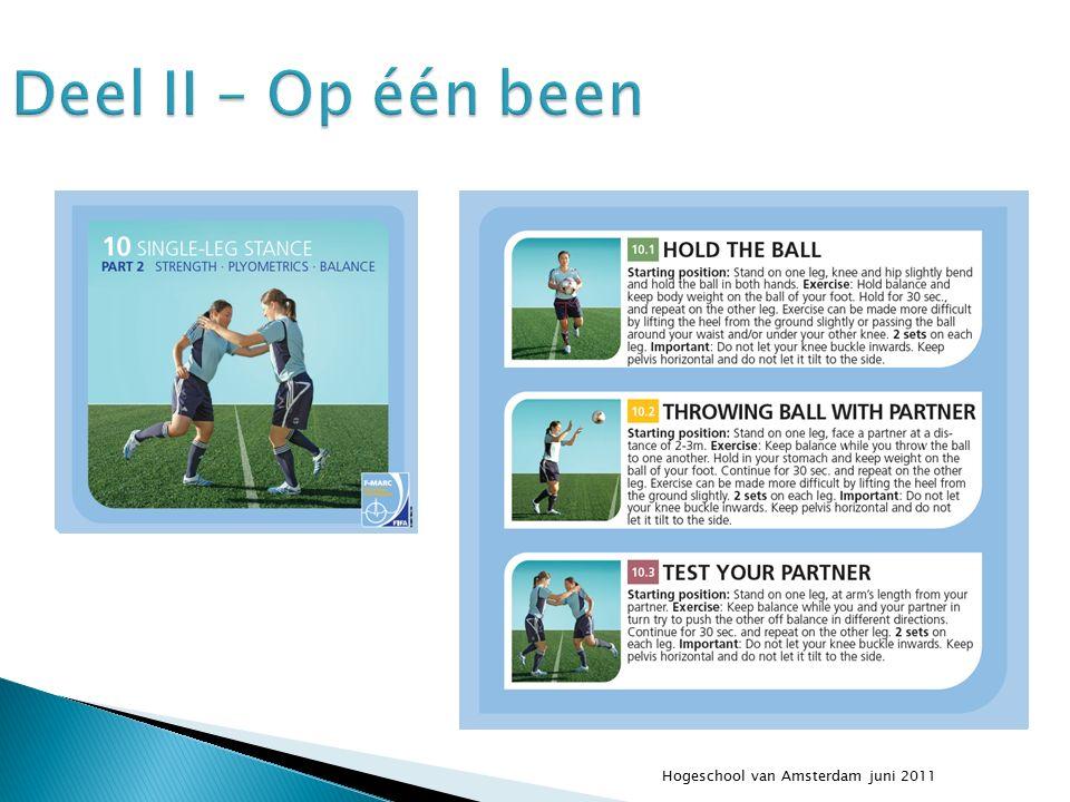 Hogeschool van Amsterdam juni 2011 Deel II – Op één been