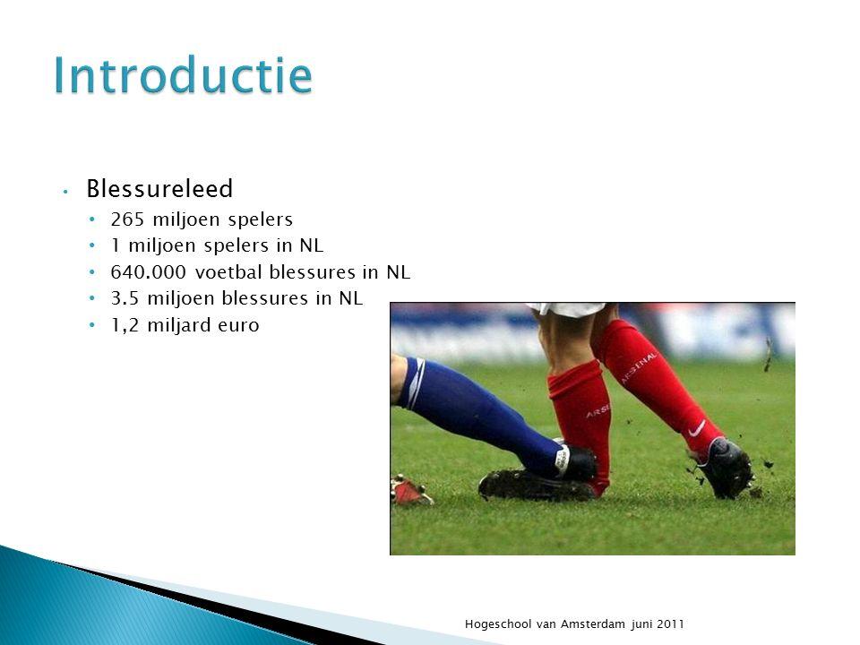 Blessureleed 265 miljoen spelers 1 miljoen spelers in NL 640.000 voetbal blessures in NL 3.5 miljoen blessures in NL 1,2 miljard euro Hogeschool van Amsterdam juni 2011