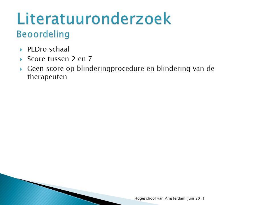  PEDro schaal  Score tussen 2 en 7  Geen score op blinderingprocedure en blindering van de therapeuten Hogeschool van Amsterdam juni 2011