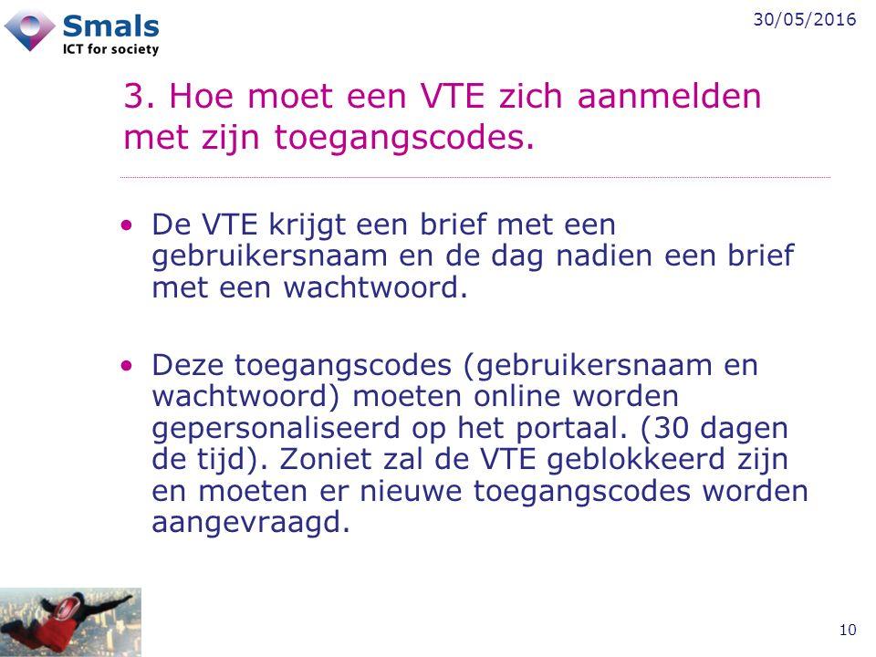 30/05/2016 10 3. Hoe moet een VTE zich aanmelden met zijn toegangscodes. De VTE krijgt een brief met een gebruikersnaam en de dag nadien een brief met