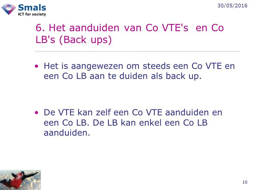 30/05/2016 16 6. Het aanduiden van Co VTE's en Co LB's (Back ups) Het is aangewezen om steeds een Co VTE en een Co LB aan te duiden als back up. De VT