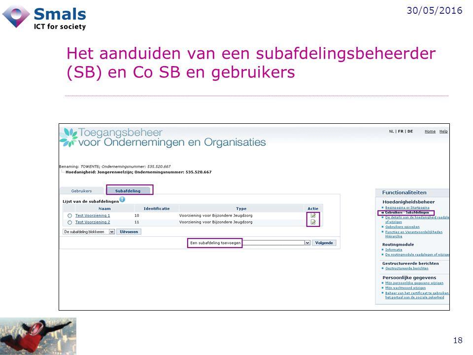30/05/2016 18 Het aanduiden van een subafdelingsbeheerder (SB) en Co SB en gebruikers