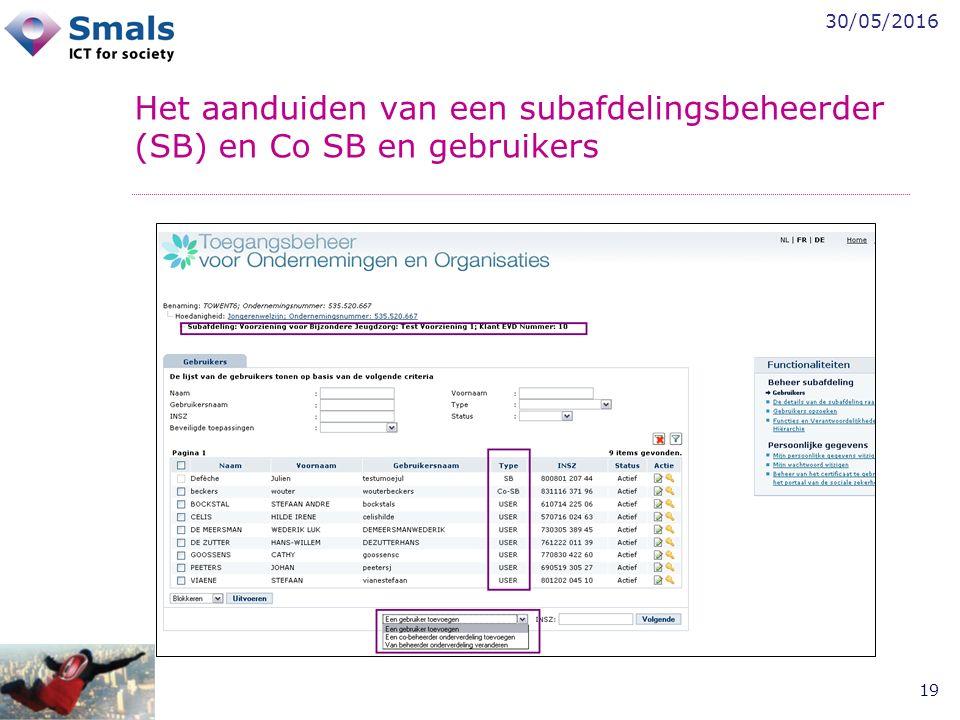 30/05/2016 19 Het aanduiden van een subafdelingsbeheerder (SB) en Co SB en gebruikers