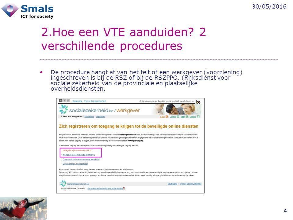 30/05/2016 4 2.Hoe een VTE aanduiden? 2 verschillende procedures De procedure hangt af van het feit of een werkgever (voorziening) ingeschreven is bij