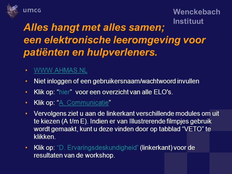 Wenckebach Instituut Alles hangt met alles samen; een elektronische leeromgeving voor patiënten en hulpverleners. WWW.AHMAS.NL Niet inloggen of een ge