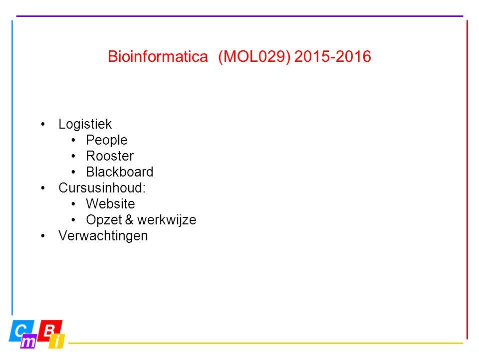 Bioinformatica (MOL029) 2015-2016 Logistiek People Rooster Blackboard Cursusinhoud: Website Opzet & werkwijze Verwachtingen