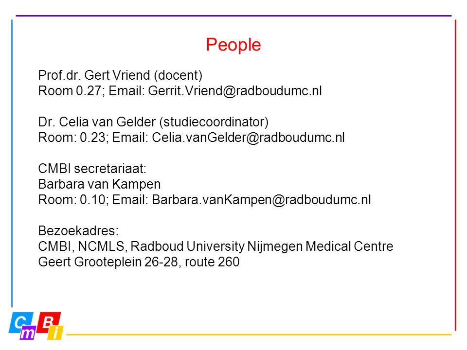 People Prof.dr. Gert Vriend (docent) Room 0.27; Email: Gerrit.Vriend@radboudumc.nl Dr.