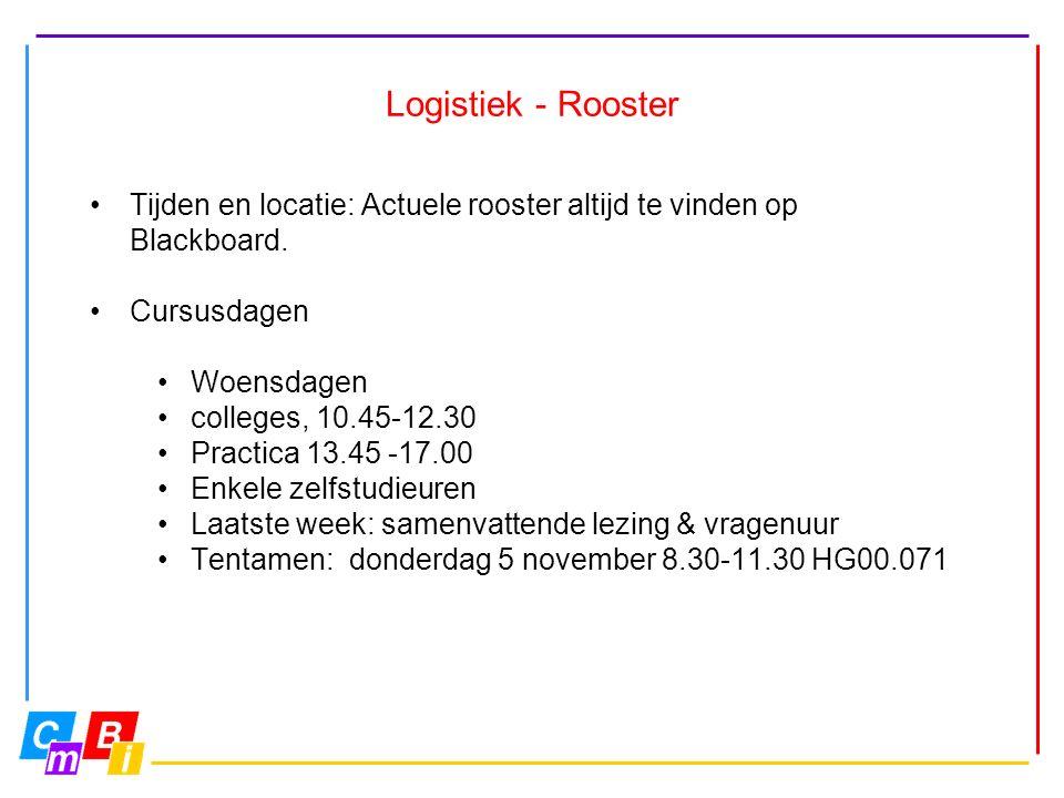 Logistiek - Rooster Tijden en locatie: Actuele rooster altijd te vinden op Blackboard.