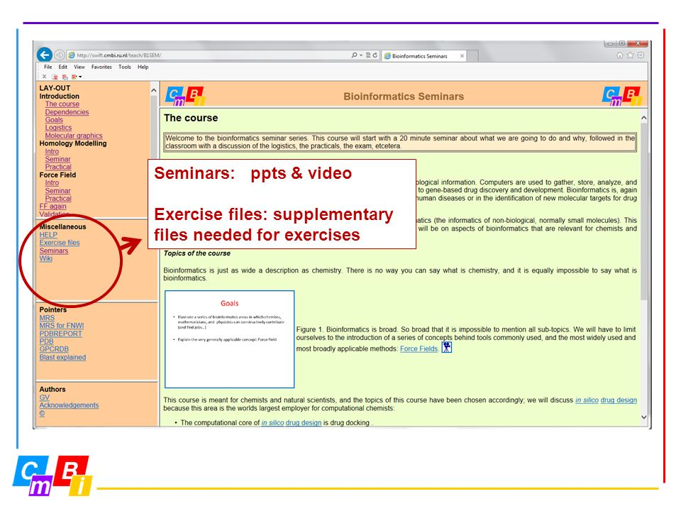 Seminars: ppts & video Exercise files: supplementary files needed for exercises