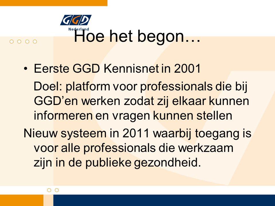 Hoe het begon… Eerste GGD Kennisnet in 2001 Doel: platform voor professionals die bij GGD'en werken zodat zij elkaar kunnen informeren en vragen kunnen stellen Nieuw systeem in 2011 waarbij toegang is voor alle professionals die werkzaam zijn in de publieke gezondheid.