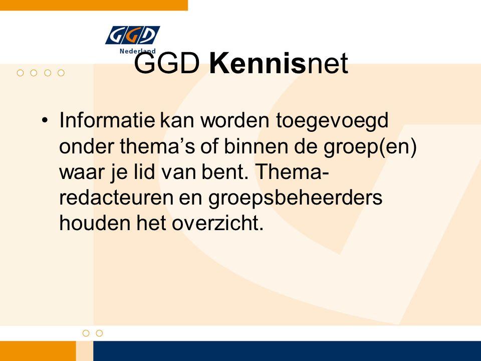 GGD Kennisnet Informatie kan worden toegevoegd onder thema's of binnen de groep(en) waar je lid van bent.