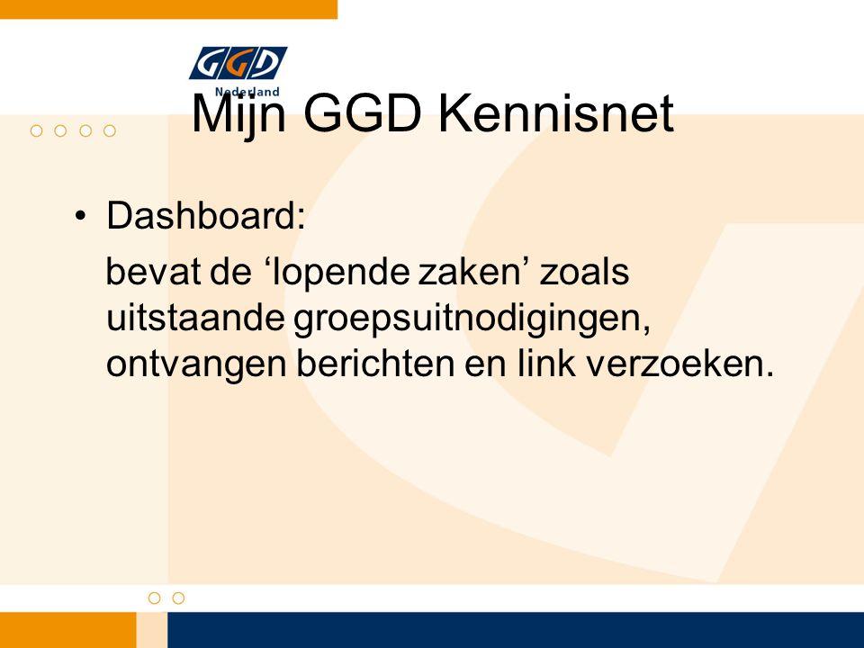 Mijn GGD Kennisnet Dashboard: bevat de 'lopende zaken' zoals uitstaande groepsuitnodigingen, ontvangen berichten en link verzoeken.