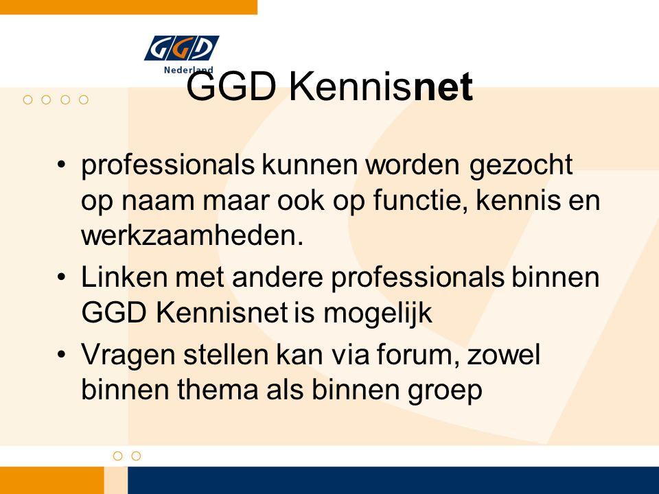 GGD Kennisnet professionals kunnen worden gezocht op naam maar ook op functie, kennis en werkzaamheden.