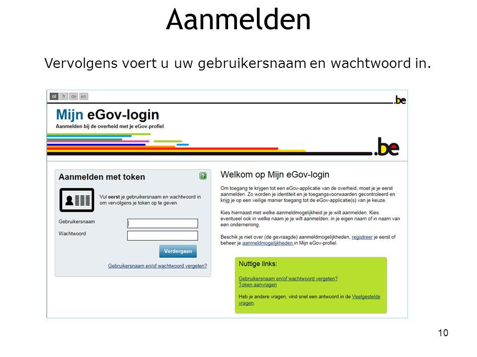 Aanmelden Vervolgens voert u uw gebruikersnaam en wachtwoord in. 10