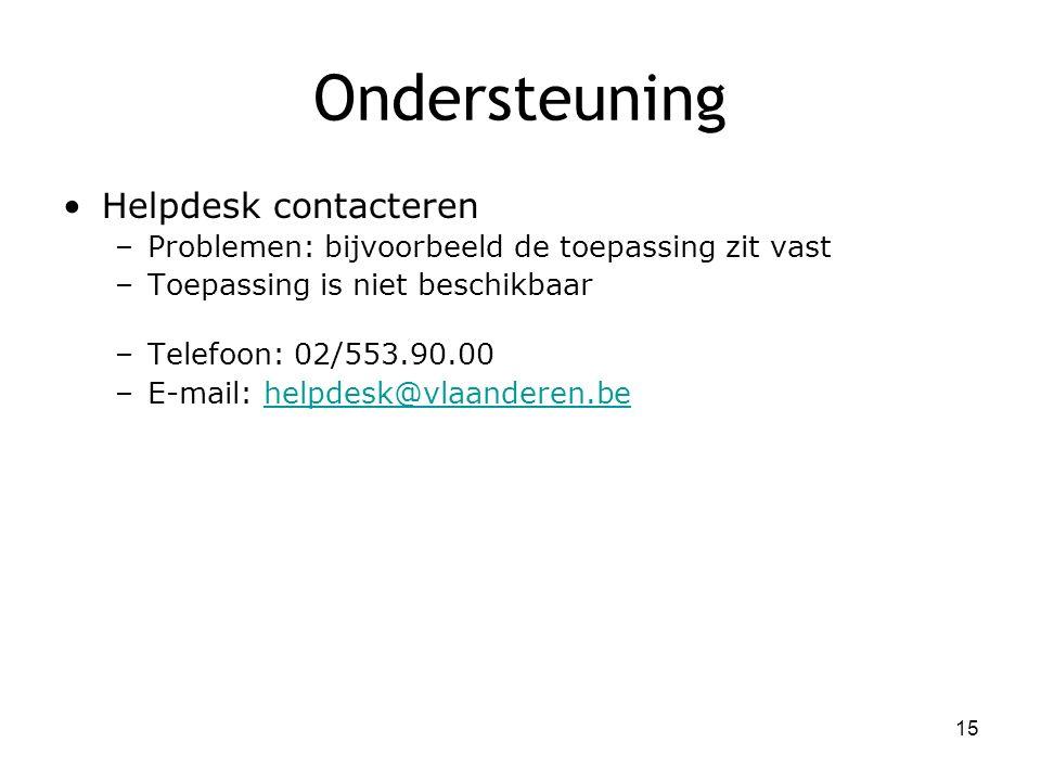 Ondersteuning Helpdesk contacteren –Problemen: bijvoorbeeld de toepassing zit vast –Toepassing is niet beschikbaar –Telefoon: 02/553.90.00 –E-mail: he