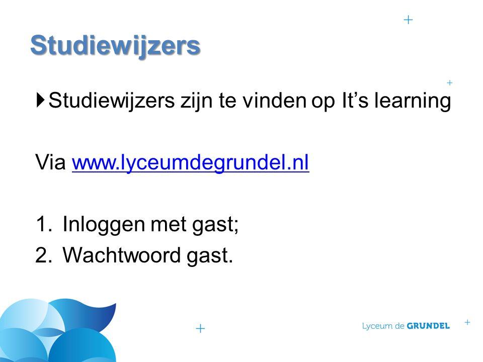  Studiewijzers zijn te vinden op It's learning Via www.lyceumdegrundel.nlwww.lyceumdegrundel.nl 1.Inloggen met gast; 2.Wachtwoord gast. Studiewijzers
