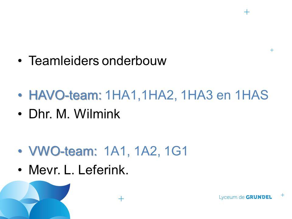 Teamleiders onderbouw HAVO-team:HAVO-team: 1HA1,1HA2, 1HA3 en 1HAS Dhr. M. Wilmink VWO-team:VWO-team: 1A1, 1A2, 1G1 Mevr. L. Leferink.