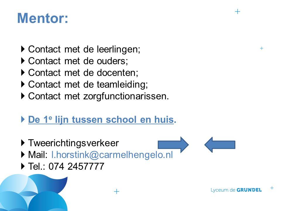  Contact met de leerlingen;  Contact met de ouders;  Contact met de docenten;  Contact met de teamleiding;  Contact met zorgfunctionarissen.  De