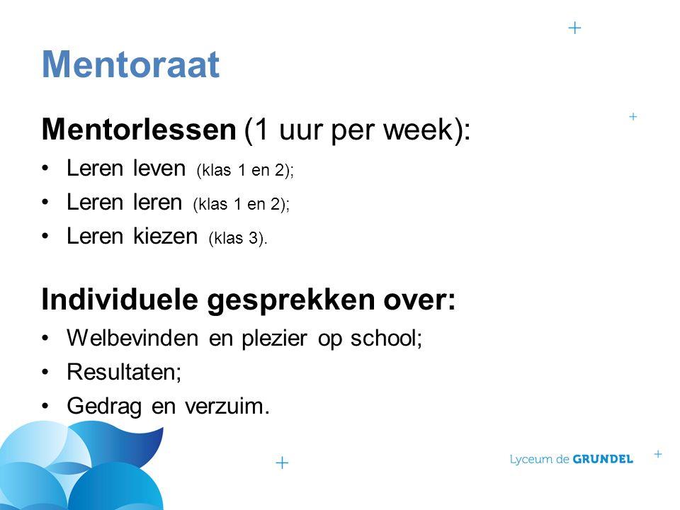 Mentorlessen (1 uur per week): Leren leven (klas 1 en 2); Leren leren (klas 1 en 2); Leren kiezen (klas 3). Individuele gesprekken over: Welbevinden e