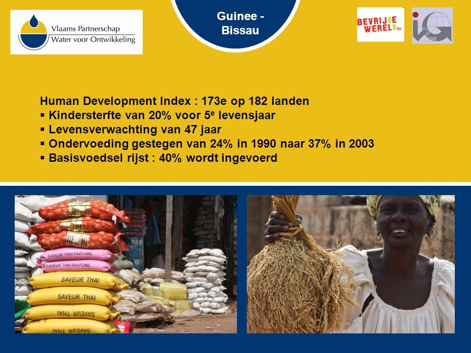 Human Development Index : 173e op 182 landen  Kindersterfte van 20% voor 5 e levensjaar  Levensverwachting van 47 jaar  Ondervoeding gestegen van 24% in 1990 naar 37% in 2003  Basisvoedsel rijst : 40% wordt ingevoerd Guinee - Bissau