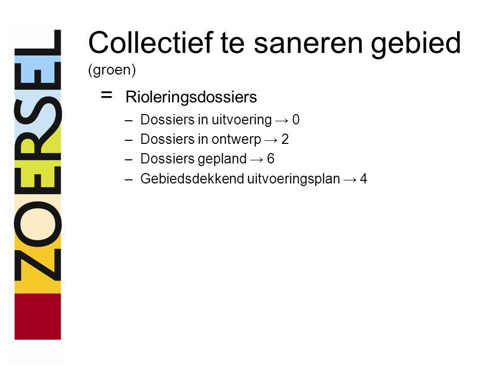 = Rioleringsdossiers –Dossiers in uitvoering → 0 –Dossiers in ontwerp → 2 –Dossiers gepland → 6 –Gebiedsdekkend uitvoeringsplan → 4 Collectief te saneren gebied (groen)