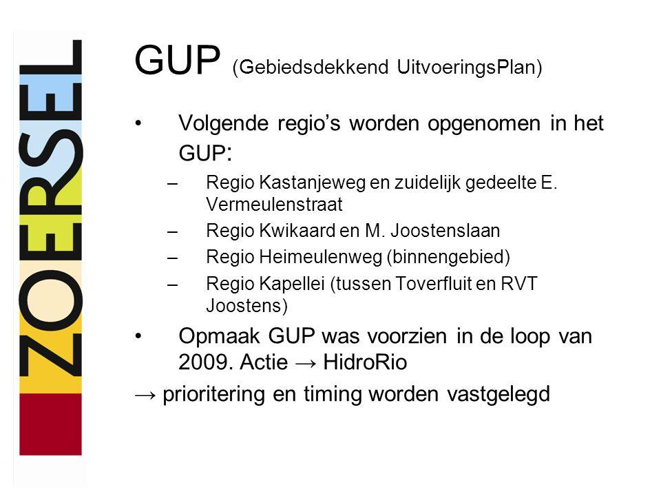 Volgende regio's worden opgenomen in het GUP : –Regio Kastanjeweg en zuidelijk gedeelte E.