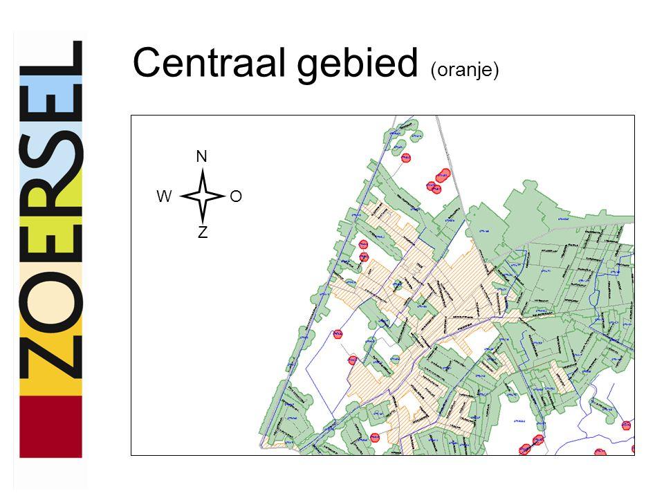 Centraal gebied (oranje) N WO Z