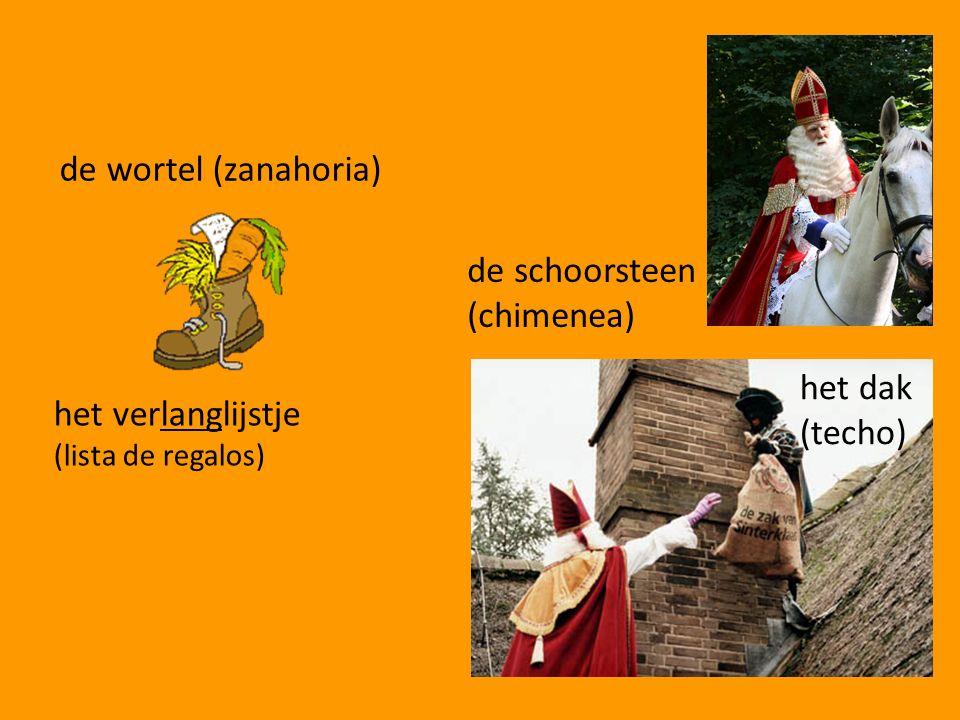 de wortel (zanahoria) de schoorsteen (chimenea) het dak (techo) het verlanglijstje (lista de regalos)