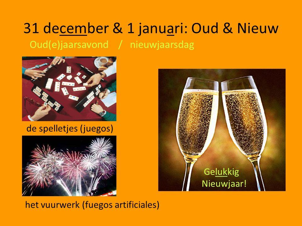 31 december & 1 januari: Oud & Nieuw Oud(e)jaarsavond / nieuwjaarsdag het vuurwerk (fuegos artificiales) de spelletjes (juegos) Gelukkig Nieuwjaar!