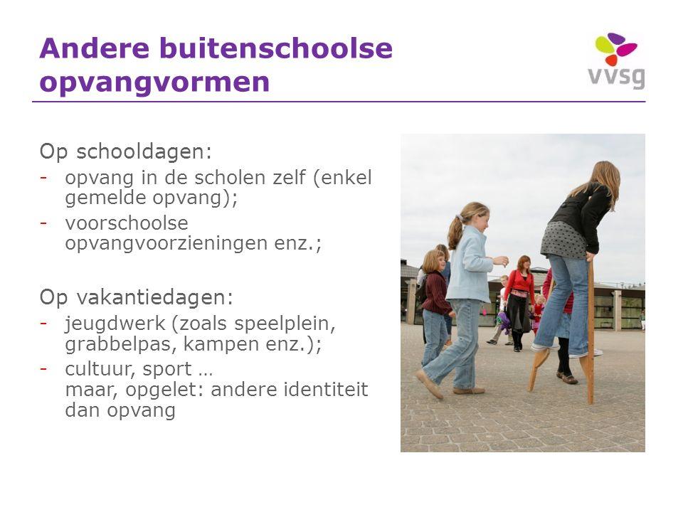 Andere buitenschoolse opvangvormen Op schooldagen: -opvang in de scholen zelf (enkel gemelde opvang); -voorschoolse opvangvoorzieningen enz.; Op vakan