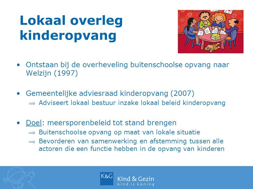 Lokaal overleg kinderopvang Ontstaan bij de overheveling buitenschoolse opvang naar Welzijn (1997) Gemeentelijke adviesraad kinderopvang (2007) Advis