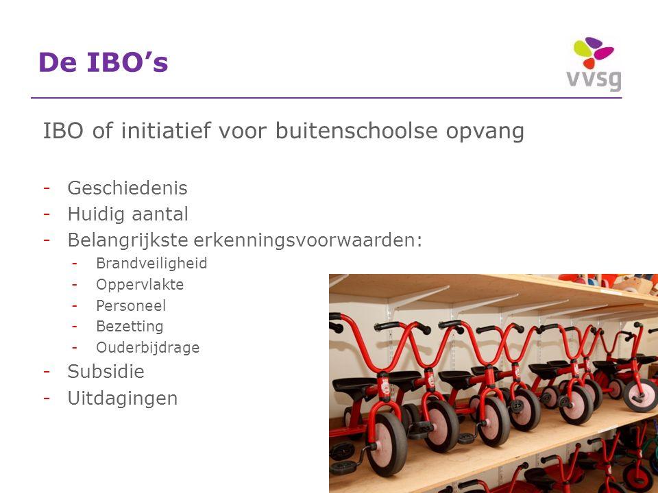 De IBO's IBO of initiatief voor buitenschoolse opvang -Geschiedenis -Huidig aantal -Belangrijkste erkenningsvoorwaarden: -Brandveiligheid -Oppervlakte -Personeel -Bezetting -Ouderbijdrage -Subsidie -Uitdagingen 30-5-2016