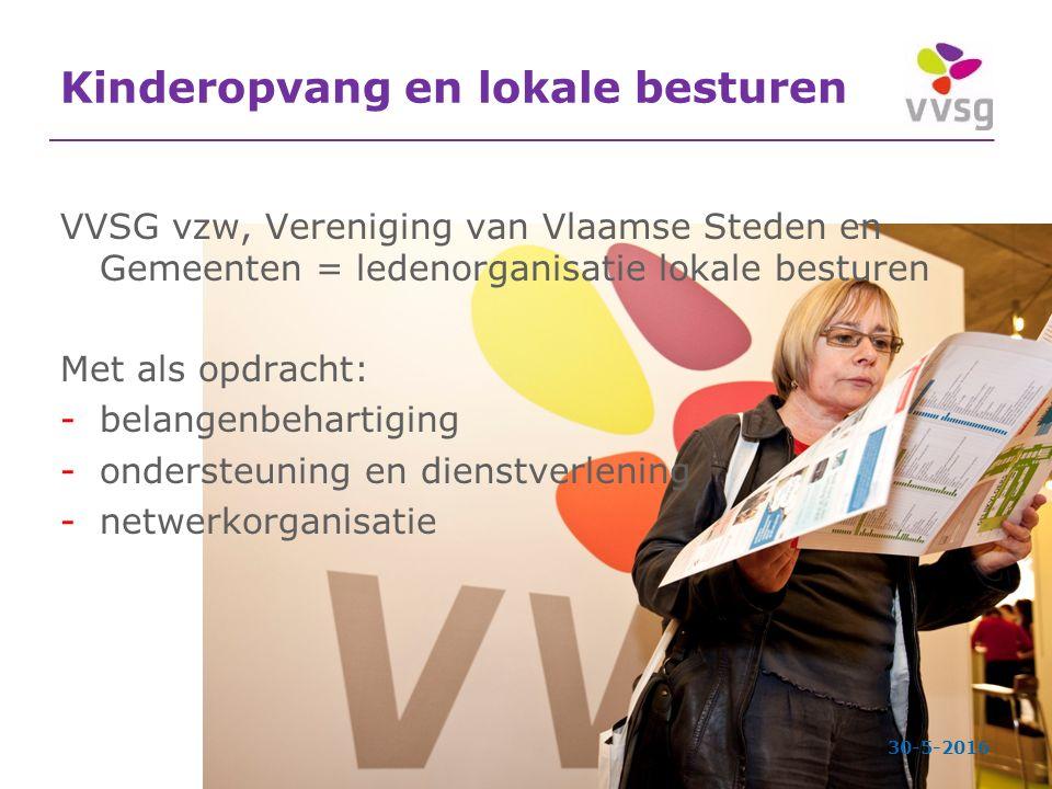 Kinderopvang en lokale besturen VVSG vzw, Vereniging van Vlaamse Steden en Gemeenten = ledenorganisatie lokale besturen Met als opdracht: -belangenbehartiging -ondersteuning en dienstverlening -netwerkorganisatie 30-5-2016