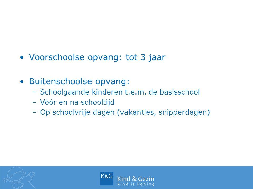 Voorschoolse opvang: tot 3 jaar Buitenschoolse opvang: –Schoolgaande kinderen t.e.m. de basisschool –Vóór en na schooltijd –Op schoolvrije dagen (vaka