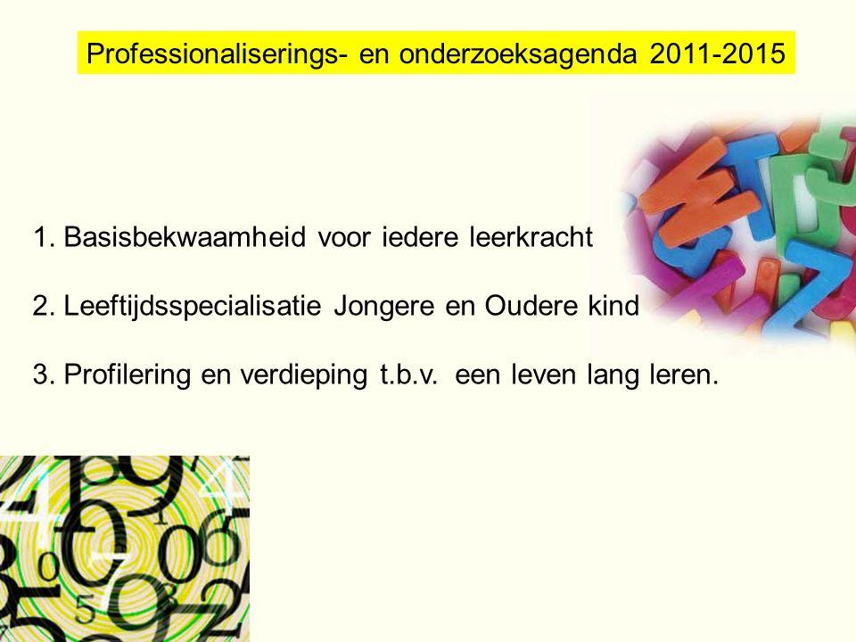 Professionaliserings- en onderzoeksagenda 2011-2015 1. Basisbekwaamheid voor iedere leerkracht 2. Leeftijdsspecialisatie Jongere en Oudere kind 3. Pro