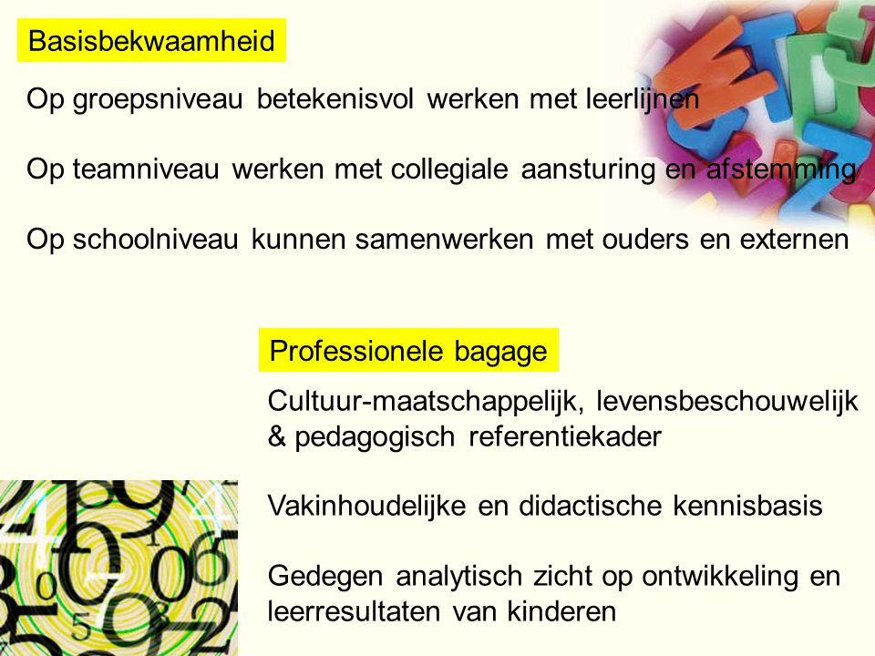Basisbekwaamheid Cultuur-maatschappelijk, levensbeschouwelijk & pedagogisch referentiekader Vakinhoudelijke en didactische kennisbasis Gedegen analyti