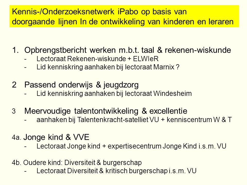 Kennis-/Onderzoeksnetwerk iPabo op basis van doorgaande lijnen In de ontwikkeling van kinderen en leraren 1.Opbrengstbericht werken m.b.t. taal & reke