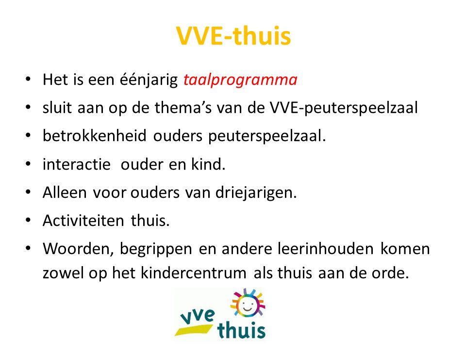 VVE-thuis Het is een éénjarig taalprogramma sluit aan op de thema's van de VVE-peuterspeelzaal betrokkenheid ouders peuterspeelzaal.